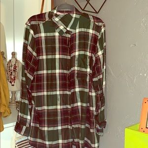 Old Navy plaid green Shirt for women  size XL